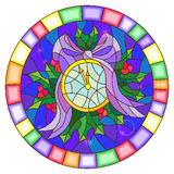 Stained glass illustration with round clock showing midnight, Holly branches and bow on blue background, round picture frame Stock Photo