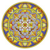 Stained glass illustration , round mirror image with floral ornaments and swirls on dark background Royalty Free Stock Photos
