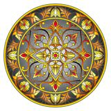 Stained glass illustration , round mirror image with floral ornaments and swirls on dark background Royalty Free Stock Image
