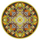 Stained glass illustration , round mirror image with floral ornaments and swirls on dark background Stock Photography