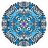 Stained glass illustration , round mirror image with floral ornaments and swirls Royalty Free Stock Images