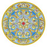 Stained glass illustration , round mirror image with floral ornaments and swirls Stock Images