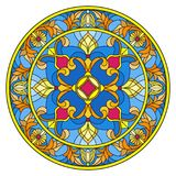 Stained glass illustration , round mirror image with floral ornaments and swirls Stock Photo