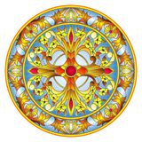Stained glass illustration , round mirror image with floral ornaments and swirls Royalty Free Stock Photography