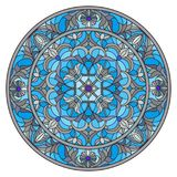 Stained glass illustration , round mirror image with floral ornaments and swirls Royalty Free Stock Image