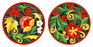 Stained glass illustration of the round stained glass Windows with abstract flowers and leaves, stylized folk painted Khokhloma. Set of illustrations of the vector illustration