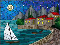 Stained glass illustration with a sailboat on the background of the Bay with city, sea and starry  sky and moon. The illustration in stained glass style painting Royalty Free Stock Photography