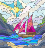 Stained glass illustration with a sailing boat, seascape. Illustration in stained glass style with sailboats against the sky, the sea and the sunrise Stock Photos