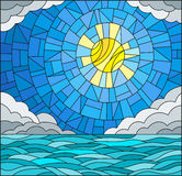 Stained glass illustration  with sea landscape, sea, cloud, sky and sun Stock Photo