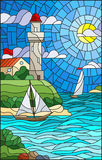 Stained glass illustration with sea view, three ships and a shore with a lighthouse in the background of day cloud sky sun and sea. Illustration in stained glass royalty free illustration