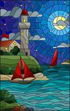 Stained glass illustration  with sea view, three ships and a shore with a lighthouse in the background of starry night cloud , moo Royalty Free Stock Image