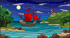 Stained glass illustration  with sea views, sailing with red sails in rocky Bay on the background of sea , moon and starry sky. Stained glass illustration with Stock Image