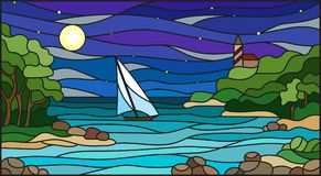 Illustration in Stained glass style with sea views, sailing in rocky Bay on the background of sea , moon and starry sky Stock Images