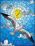 Stained glass illustration a Seagull on the background of sky, sun and clouds Stock Photography