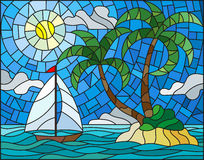 Stained glass illustration with the seascape, tropical island with palm trees and a sailboat on a background of ocean , sun and cl. Illustration in stained glass Royalty Free Stock Photos