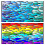 Stained glass illustration with set of backgrounds,wavy rainbow and blue background. A set of background illustrations in the stained glass style, wavy rainbow Stock Image