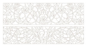 Stained glass illustration with Set contour  swirls and flowers , horizontal orientation Stock Photos