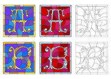 Stained glass illustration with set of letters of the Latin alphabet ,letters `A` and `B` vector illustration