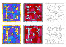 Stained glass illustration with set of letters of the Latin alphabet, letters `E` and `F` vector illustration