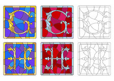 Stained glass illustration with set of letters of the Latin alphabet,letters `G` and `H` vector illustration