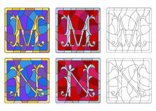 Stained glass illustration with set of letters of the Latin alphabet, letters `M` and `N` stock illustration