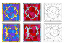Stained glass illustration with set of letters of the Latin alphabet, letters `O` and `P` royalty free illustration