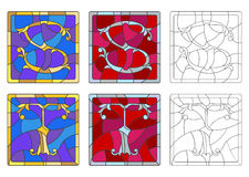 Stained glass illustration with set of letters of the Latin alphabet letters `S` and `T` royalty free illustration