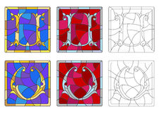 Stained glass illustration with set of letters of the Latin alphabet , letters `U` and `V` vector illustration