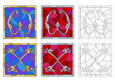 Stained glass illustration with set of letters of the Latin alphabet, letters `W` and `X` vector illustration