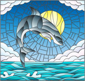 Stained glass illustration with a shark on the background of water ,cloud, sky and sun Stock Image