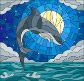 Stained glass illustration  with a shark on the background of water ,cloud, starry sky and moon Stock Photo