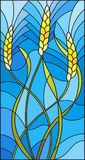 Stained glass illustration  with spikes of cereal plants on a blue background Stock Photo