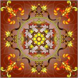 Stained glass illustration , square mirror image with floral ornaments and swirls on a Burgundy background Stock Image