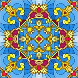 Stained glass illustration , square mirror image with floral ornaments and swirls Stock Image