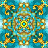 Stained glass illustration , square mirror image with floral ornaments and swirls n a turquoise background Royalty Free Stock Image
