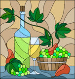 Stained glass illustration with a still life, a bottle of white wine, glass and grapes on a beige background Royalty Free Stock Image