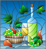 Stained glass illustration  with a still life, a bottle of white wine, glass and grapes on a blue  background. The illustration in stained glass style  with a Royalty Free Stock Images