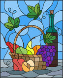 Stained glass illustration with a still life, a bottle of wine,  and fruits on a blue background. The illustration in stained glass style painting with a still Stock Images