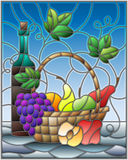 Stained glass illustration with a still life, a bottle of wine,  and fruits on a blue background. The illustration in stained glass style painting with a still Stock Photography