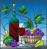 Stained glass illustration with a still life, a bottle of wine, glass and grapes on a blue background Stock Photos