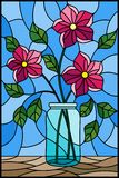 Stained glass illustration  with still life, bouquet of pink flowers in a glass jar on a blue background. Illustration in stained glass style with still life Royalty Free Stock Photos