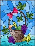 Stained glass illustration with a still life, fruit basket,  and fruits on a blue background. The illustration in stained glass style painting with a still life Royalty Free Stock Photos