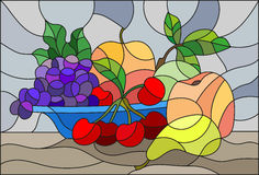 Stained glass illustration  with still life, fruits and berries in blue bowl Stock Photos