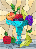 Stained glass illustration  with still life, fruits and berries in a blue vase. Illustration in stained glass style with still life, fruits and berries in a blue Stock Photo