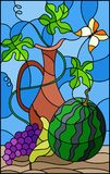 Stained glass illustration with still life, fruits, berries and pitcher on blue background. Illustration in stained glass style with still life, fruits, berries Stock Photography