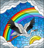 Stained glass illustration  stork on the background of sky, sun , clouds and rainbow Stock Photos