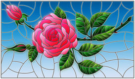 Stained glass illustration. Illustration in stained glass style flower of red rose on a blue background Stock Photo