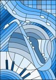 Stained glass illustration  on the subject of music , the shape of an abstract saxophone on geometric background,blue tone. Illustration in stained glass style Royalty Free Stock Photos