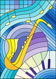 Stained glass illustration on the subject of music , the shape of an abstract saxophone on geometric background Royalty Free Stock Images