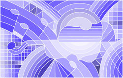 Stained glass illustration on the subject of music , the shape of an abstract violin on geometric background, blue tone. Illustration in stained glass style on Stock Images